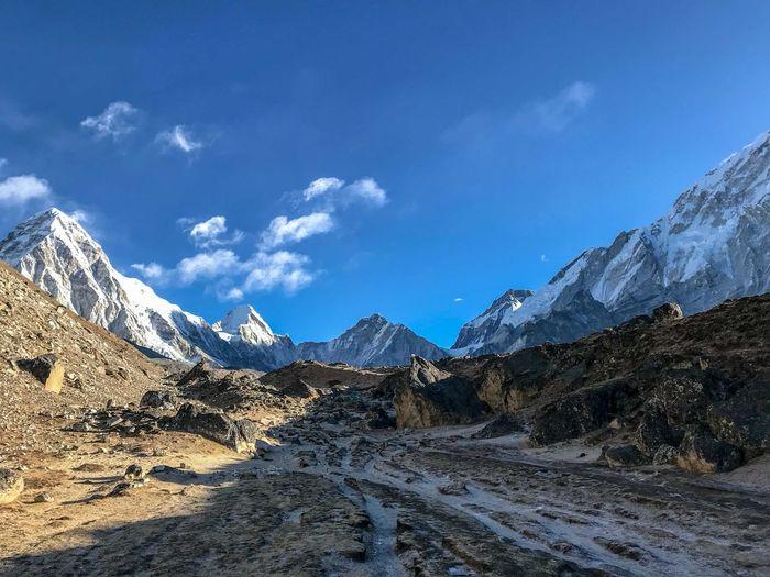 Everest Base Camp Trek Nepal near Lobuche camp Beauty In Nature Cold Temperature Mountain Mountain Peak Mountain Range Scenics - Nature Snow Snowcapped Mountain Tranquility