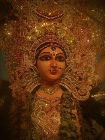 A sculture of Goddess Durga in Hindu Festival Gold Colored Close-up Arts Culture And Entertainment ArtWork God's Beauty Kolkata India Sculpture Durgapuja Durga Puja 2017 Phone Photography