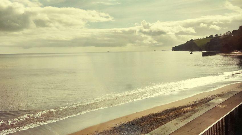 Great Western Railway Devon Coastline Beach Sea Sea And Sky Cliffs Tranquility Calm Nature