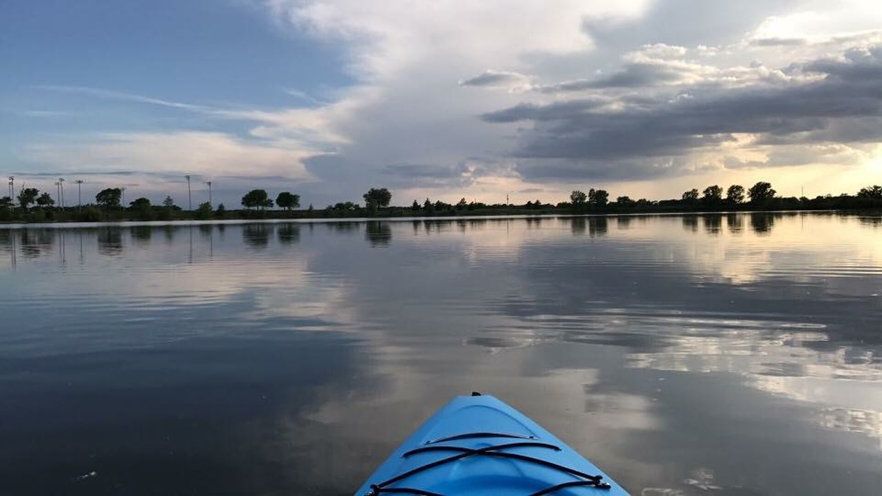 water, reflection, cloud - sky, sky, nature, lake, nautical vessel, beauty in nature, tranquility, scenics, tranquil scene, outdoors, no people, day, kayak