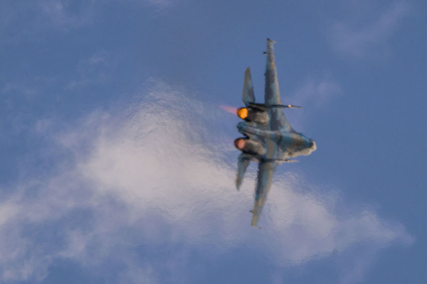 Airshow Aviation Clouds Fighter Jet Military Silhouette Sky Su27