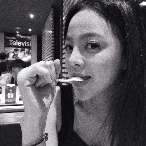 I'm hungry. Black And White Girl Captured Moment Taking Photos