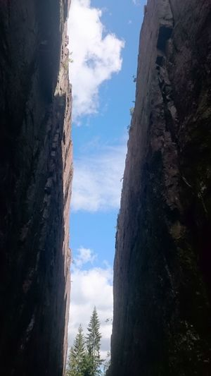 Cloud - Sky Sky No People Day Outdoors Travel Destinations Low Angle View Tree Nature Slåttdalsskrevan Höga Kusten Crevice Cliff Edge