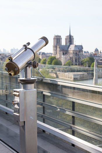 la vue de la terrasse de l'Institut du monde arabe Cathédrale Notre-dame De Paris Institut Du Monde Arabe Blossom City Coin-operated Binoculars Cityscape Water Eyesight Telescope Sky