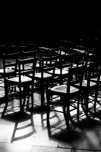 Church EyeEm Best Shots Magical Meditation Sacred Places Absence Audience Chair Chairs Contrast Empty In A Row Indoors  Light And Shadow Magical Moments Mystical Sunlight Ways Of Seeing HUAWEI Photo Award: After Dark Autumn Mood