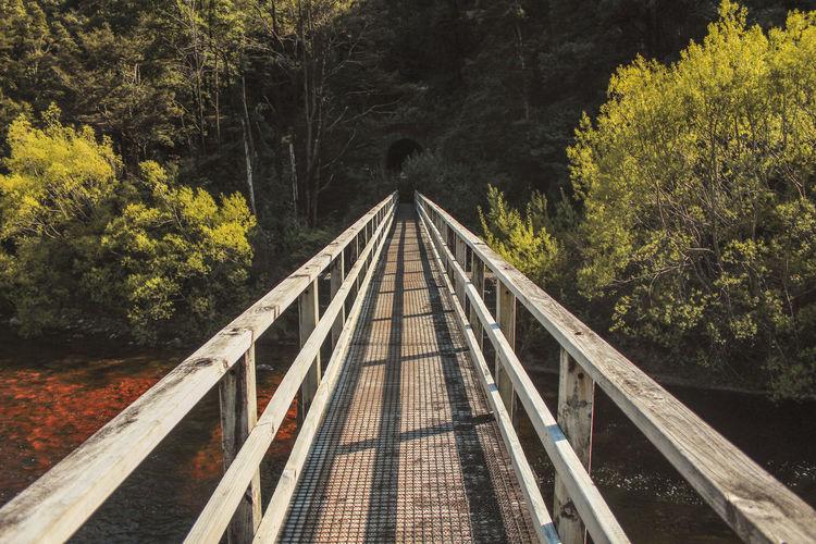 View of footbridge over river