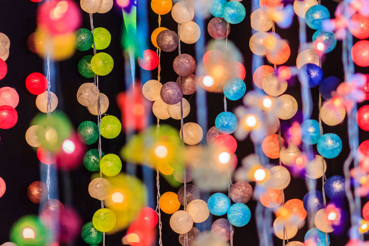 Full frame shot of colorful illuminated decoration