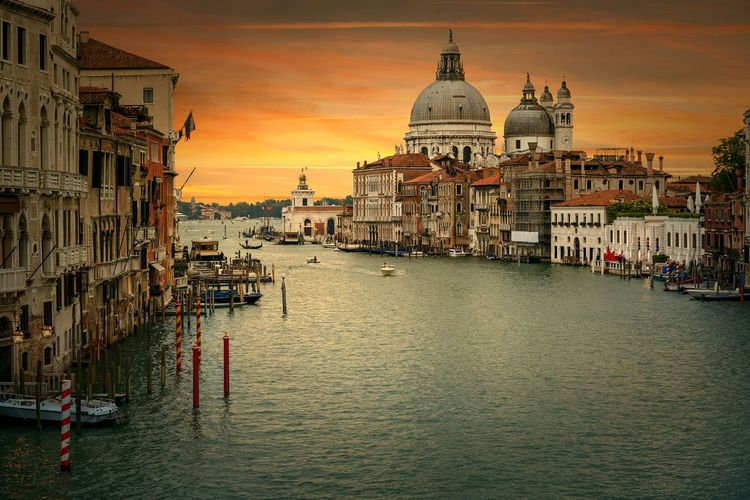 High Angle View Of Grand Canal By Santa Maria Della Salute At Sunset