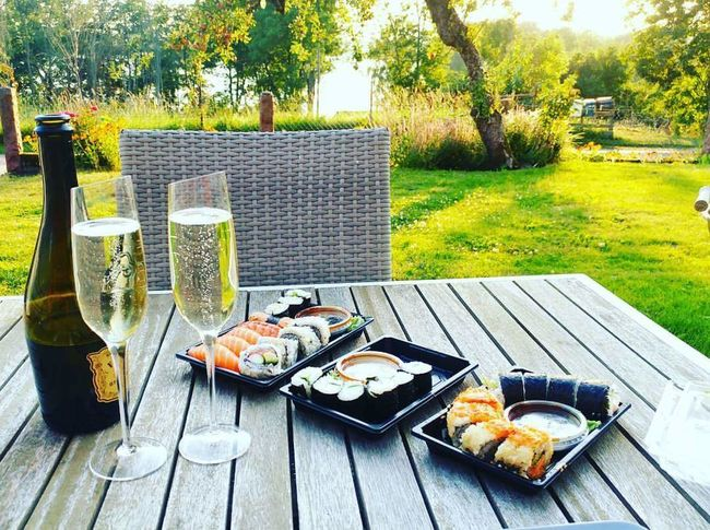 Relaxation Sushi Champagne My Backyard Home Sweet Home Summer