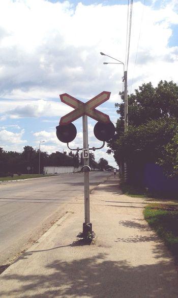 Railway Light Road Nobody Around Trees Kalinovka Ukraine