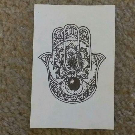 Hamsa Hand Art Sharpie Drawing