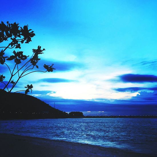 Sunset Water Sea Landscape Blue Mountain Cloud - Sky Beach Nature Scenics Sky Beauty Vacations Outdoors Tree Travel Destinations Silhouette No People Night Beauty In Nature