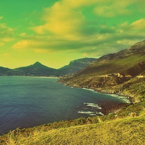 Beautiful View of Houtbay from Chapmans peak capetown mothercity clouds mountains
