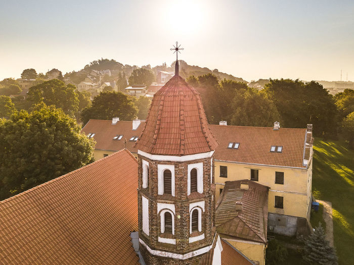 Tower Drone  Architecture Belief Building Building Exterior Built Structure City Cupola Day History House Nature No People Outdoors Place Of Worship Plant Religion Roof Roof Tile Sky Spire  Spirituality Tower Tree