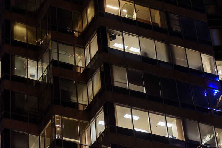 Night Illuminated Architecture Building Exterior City Built Structure Low Angle View Building Window No People Full Frame Glass - Material Residential District Modern Office Outdoors Balcony Backgrounds Apartment Office Building Exterior