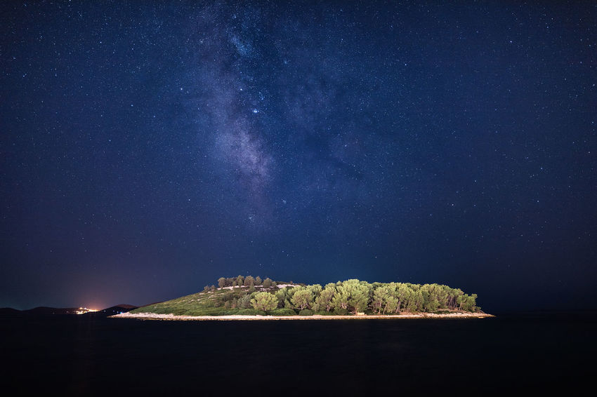 Croatia Pakoštane Astronomy Astrophotography Beauty In Nature Galaxy Hrvatska Idyllic Island Land Milky Way Nature Night No People Outdoors Scenics - Nature Sea Sky Space Star Star - Space Star Field Tranquil Scene Tranquility Water