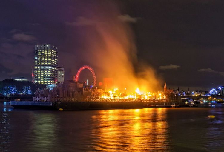 From the finale of the Commemoration of 350 years since the Great Fire of London London Greatfire350 Londonsburning Nightphotography Night Night Lights City Cityscapes City Life England Photography Travel Destinations Architecture Fire Night View Illuminated Landscape EyeEm Best Shots River