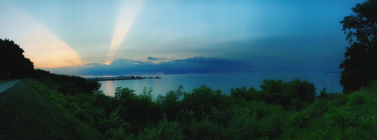 Panoramic View Shoreline On The Horizon Port Dalhousie Peaceful Evening Waterfront Sunbeam Panoramic View EyEmNewHere EyeEm Nature Lover Lake Ontario Water Sky Scenics - Nature Beauty In Nature Tranquil Scene Tranquility Cloud - Sky Plant Sunset Nature Idyllic No People Non-urban Scene Outdoors