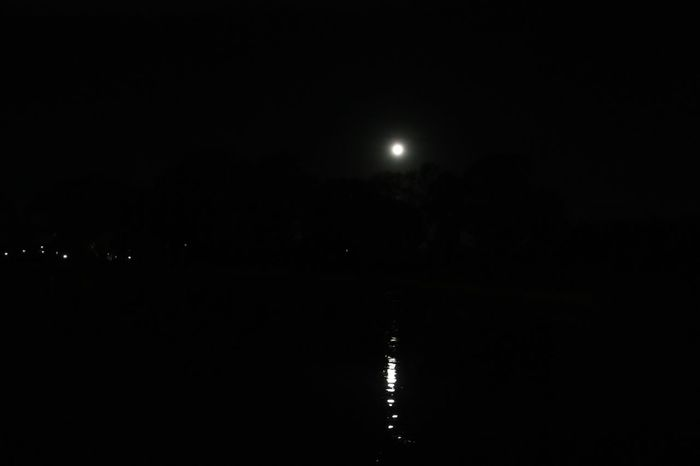 Moon light on lake Night Moon Sky Illuminated No People Nature Water Outdoors Dark Glowing Beauty In Nature Reflection Waterfront Moonlight Full Moon