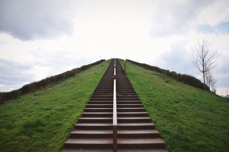 Low Angle View Of Steps On Mountain Against Sky