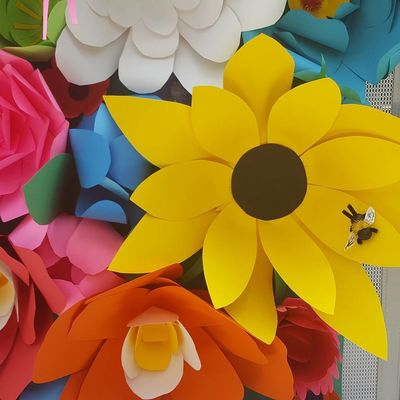 Paper flowers Yellow Multi Colored Full Frame Pattern Backgrounds No People Indoors  Day Close-up Paper Art Indoors  Fragility Flower