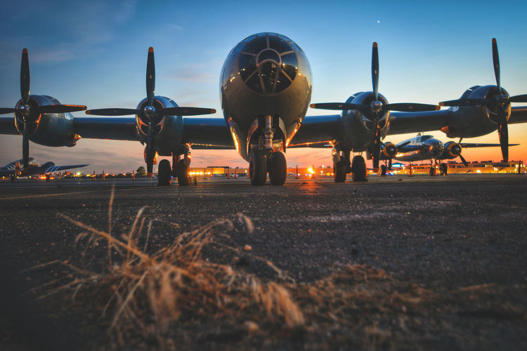 WW2 bomber - B29 Superfortress Long Island Blue Hour Long Exposure Dusk Slow Shutter B29 Ww2 USA Silouette & Sky B-29 Boeing Superfortress Airshow Business Finance And Industry Technology Sky Plane Military Airplane Aircraft Wing Air Force Propeller Airplane Propeller Airfield The Still Life Photographer - 2018 EyeEm Awards