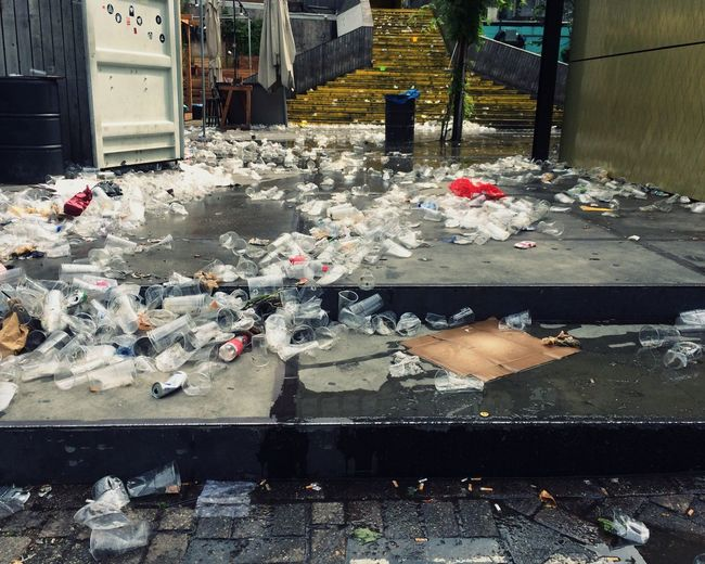Garbage after outdoor party Garbage No People Outdoors Bar Plastic Cup Rotterdam Beer Garden