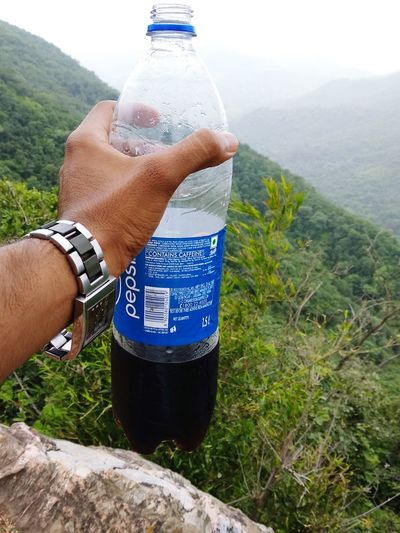 Human Hand Water Mountain Drink Drinking Men Bottle Cold Drink Close-up Sky