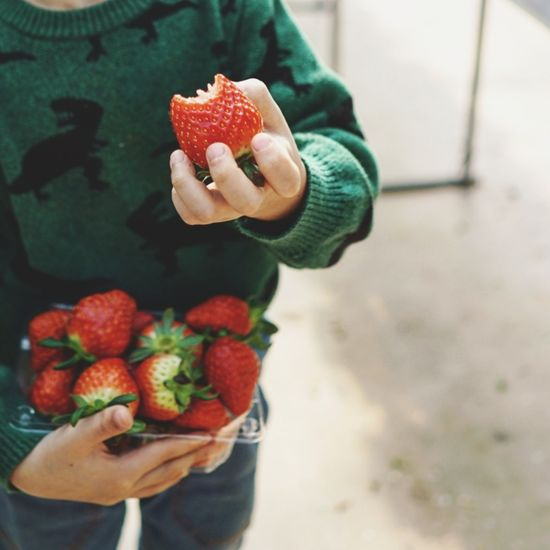 Human Hand Women Fruit Healthy Lifestyle Holding Raspberry Summer Front View Strawberry Close-up