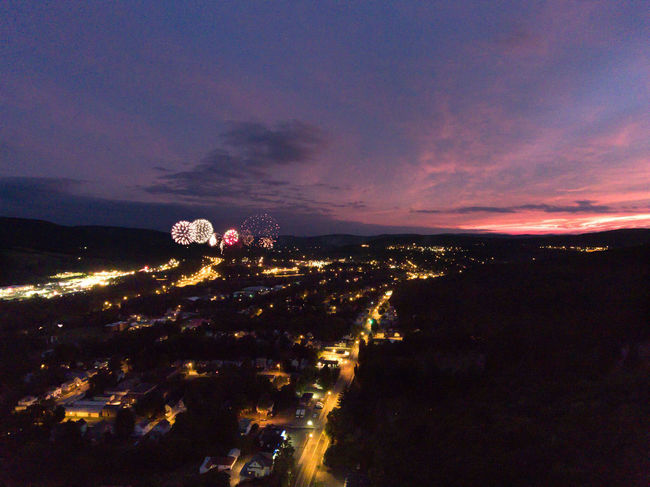 Fireworks at sunset over Oneonta NY. Night Sunset Scenics First Eyeem Photo