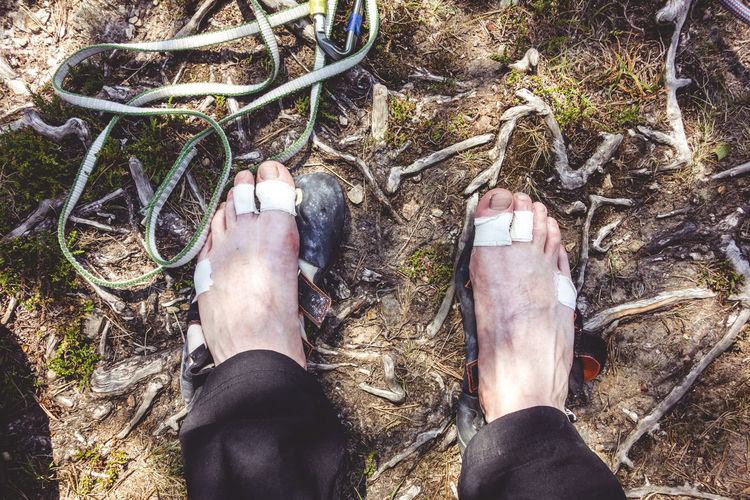 Bruised Climber Cut Pain Scotland Bandage Climbing Climbing Equipment Danger Extreme Sports Feet High Angle View Human Foot Hurt Injury Lifestyles Male Nature Outdoors Personal Perspective Real People Rock Climbing Safety Sport Toes