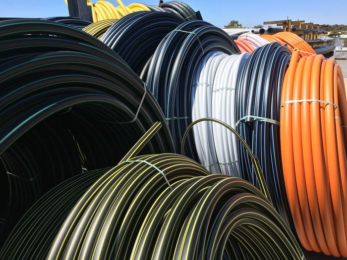 Coil Coils Colours Day Flexible Industrial Photography Industry No People Orange Pip Plastic Retic Round Stripes Pattern Tube Work
