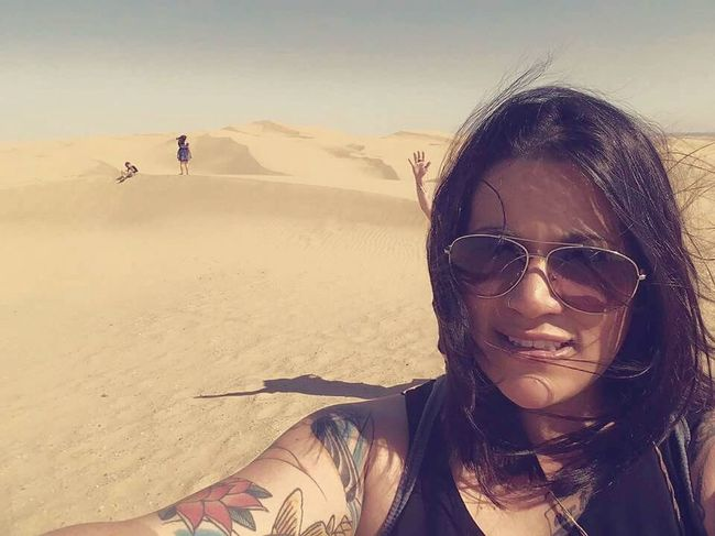 California sand dunes. Bat Country California Desert In The Sand Dunes Selfies Roadtrippin' Kids In The Background
