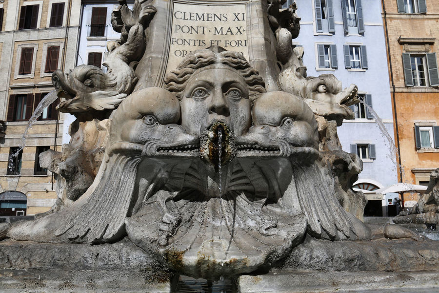 Art Famous Place Fontana Del Pantheon Fountain Italy Monument Rome Sculpture Statue Water