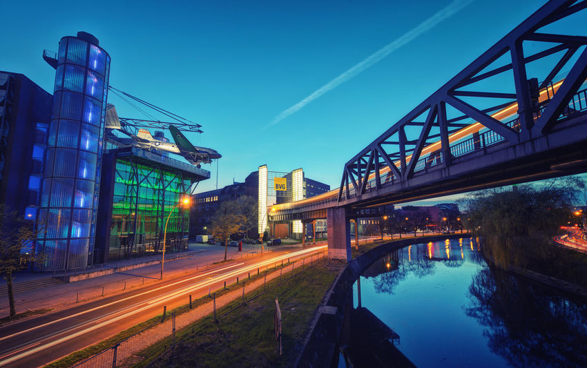 Architecture Berlin Blaue Stunde Blue Bridge - Man Made Structure Building Exterior Built Structure Bvg Connection Day Hauptstadt Illuminated Lighttrails Longexposure Nature No People Outdoors Rosienenbomber S Sky Technikmuseum Transportation Vapor Trail Water