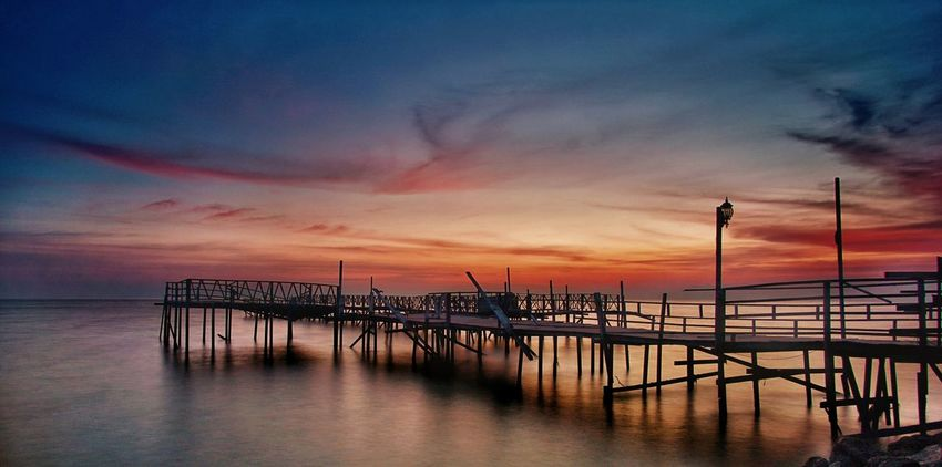 Sunset Sea Horizon Over Water Beach Sky Tranquility No People Water Cloud - Sky Outdoors Landscape Travel Destinations Night Nature Architecture Tanjungsepat Lovers Bridge