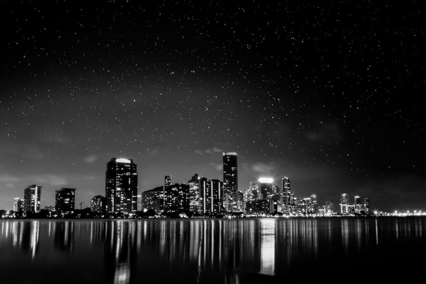 Astrophotography Black And White Blackandwhite Blackandwhite Photography Bw Bw_collection City City Life Cityscapes Florida Miami Skyline Stars Cities At Night Citiesatnight Monochrome Photography Black And White Friday