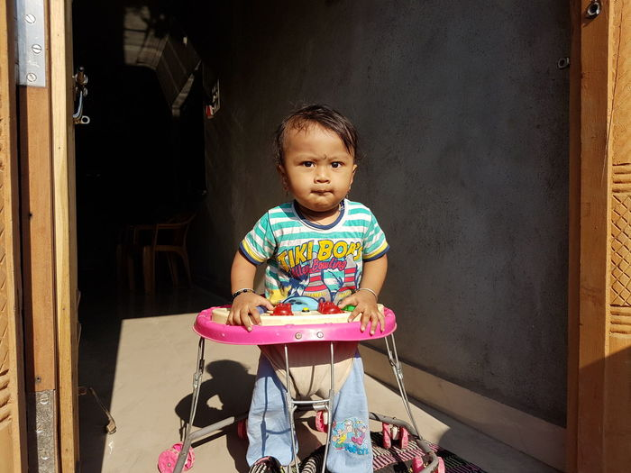 Ma Son... 😉😉👍👍 Kids Baby Walk Walker Sunnyday☀️ Young Boy Samsung S7 Smartphonephotography HDR Childhood One Person Front View Indoors  Leisure Activity Real People