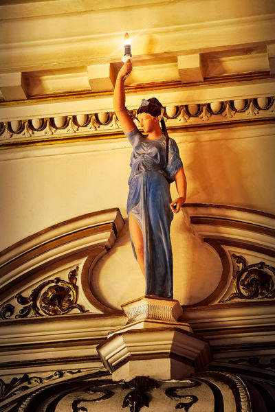 Statue in the Grand Theatre, Lancaster. Sculpture Architecture Art And Craft Statue Low Angle View Human Representation Male Likeness The Past Craft Built Structure Indoors  Place Of Worship Creativity History Representation Building Religion Female Likeness Arms Raised Ornate Angel Mural