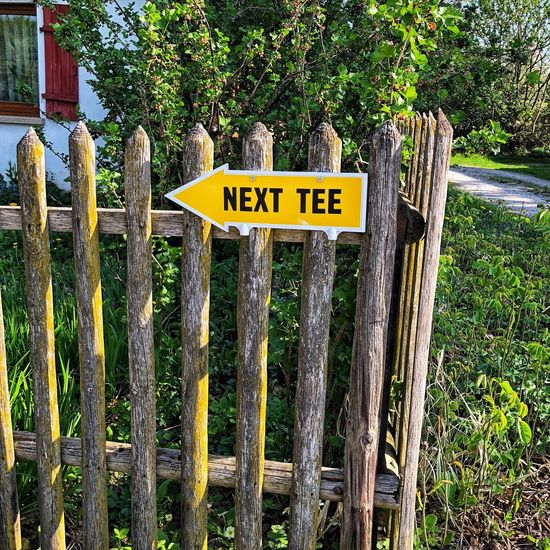 Next Tee Sign Information Fence