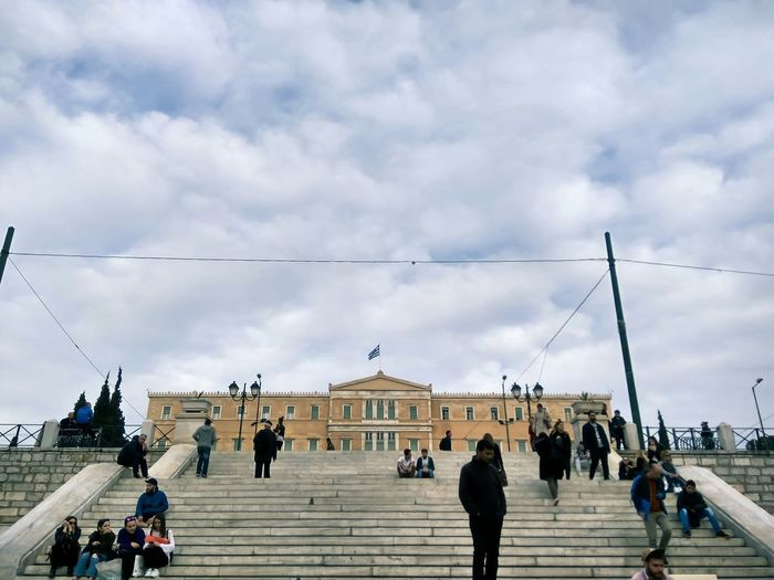 Greek Parliament Government Architecture Building Exterior People Of EyeEm Syntagma EyeEm Nature Lover EyeEm Best Shots Athens, Greece Greece City Lifestyles Large Group Of People Travel Destinations Cloud - Sky Sky Outdoors Men Day Adults Only People Adult Cityscape Government Building Stairs