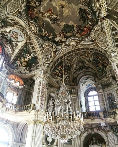 Low Angle View Architecture Indoors  Ceiling Built Structure Art And Craft Place Of Worship Architectural Feature Architectural Column Church Chandelier Famous Place Creativity Gobelins Ornate Art History Fresco Day Arch Design Trustme Full Frame Multi Colored