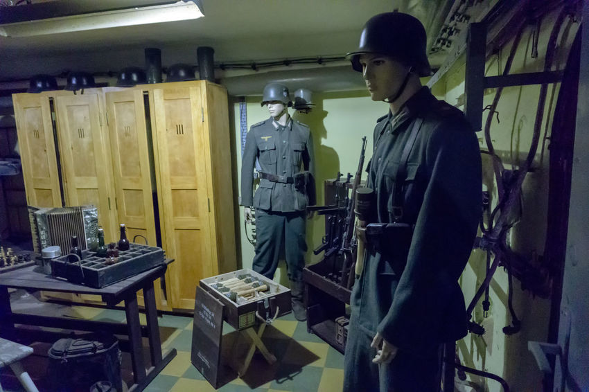 Battery Vineta - German fortifications from World War II on the island of Wolin (Poland). Currently a museum. II World War Mannequins Soldiers Wehrmacht Cantonment Equipment History Human Representation Illuminated Indoors  Large Group Of Objects Military Preparation  Protection Real People Standing