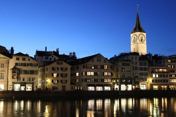 Blue Hour City Cityscape Limmat Zürich Architecture Blue Building Exterior Built Structure City Clear Sky Clock Tower History Illuminated No People Outdoors Peterskirche Religion River Sky Travel Destinations Water Waterfront Zurich, Switzerland