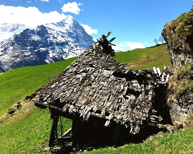 Deserted farmhouse Rotten Wood Eiger Grindelwald Alps Hut Farm Plant Sky Nature Mountain Sunlight Beauty In Nature