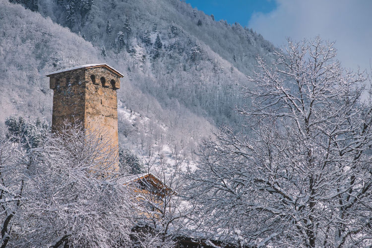 Cold Temperature Snow Winter Built Structure Architecture Tree Building Exterior Nature No People Plant Mountain History Day The Past Building Scenics - Nature Beauty In Nature Frozen Outdoors Mestia Town Village Village View Old Village Castle