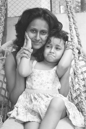 """Happiness Leisure Activity Mischievous Mom And Daughter Portrait Smile """"The Photojournalist - 20I6 EyeEm Awards"""""""