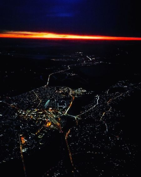Plane Landing Early Morning City Lights Norway Norge Photo Norgeibilder Dark Sky Sunrise Plane Landscape from the Sky