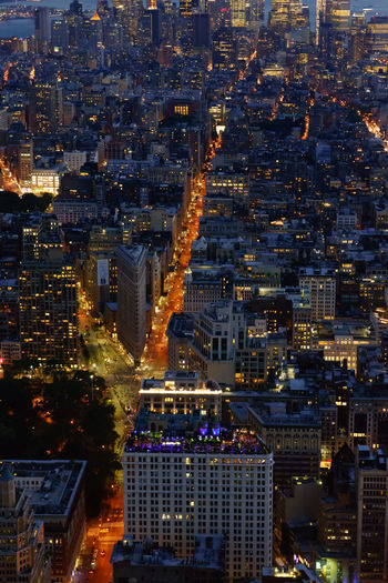 Flat Iron Building Manhattan New York New York City Nightphotography Aerial View Architecture Building Exterior Built Structure City Cityscape Full Frame High Angle View Illuminated Modern Night No People Outdoors Residential Building Skyscraper Travel Destinations