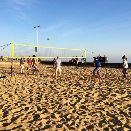 Brighton Brighton Beach Volleyball Beach Blue Sky Sports United Kingdom Players Outdoor Playing